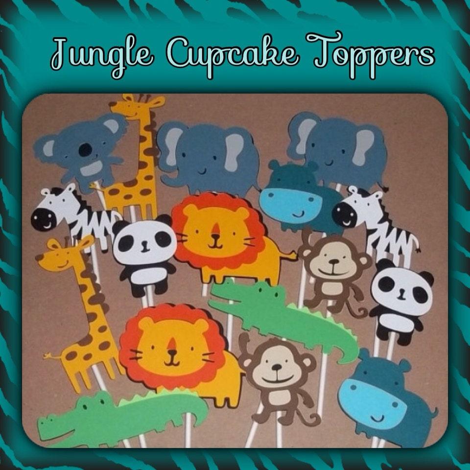 Set Di 12 Giungla Tema Cupcake Toppers Di LittleMissStarchick