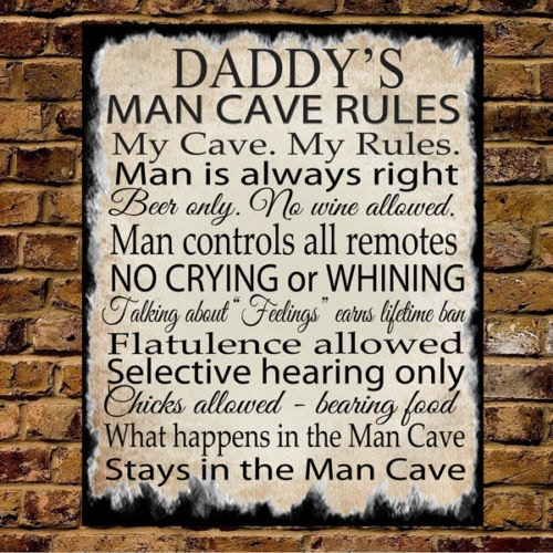 Personalised Large Metal Plaque Sign MAN CAVE RULES Christmas Fathers Day Gift Present Dad Daddy Grandad Uncle Brother Son