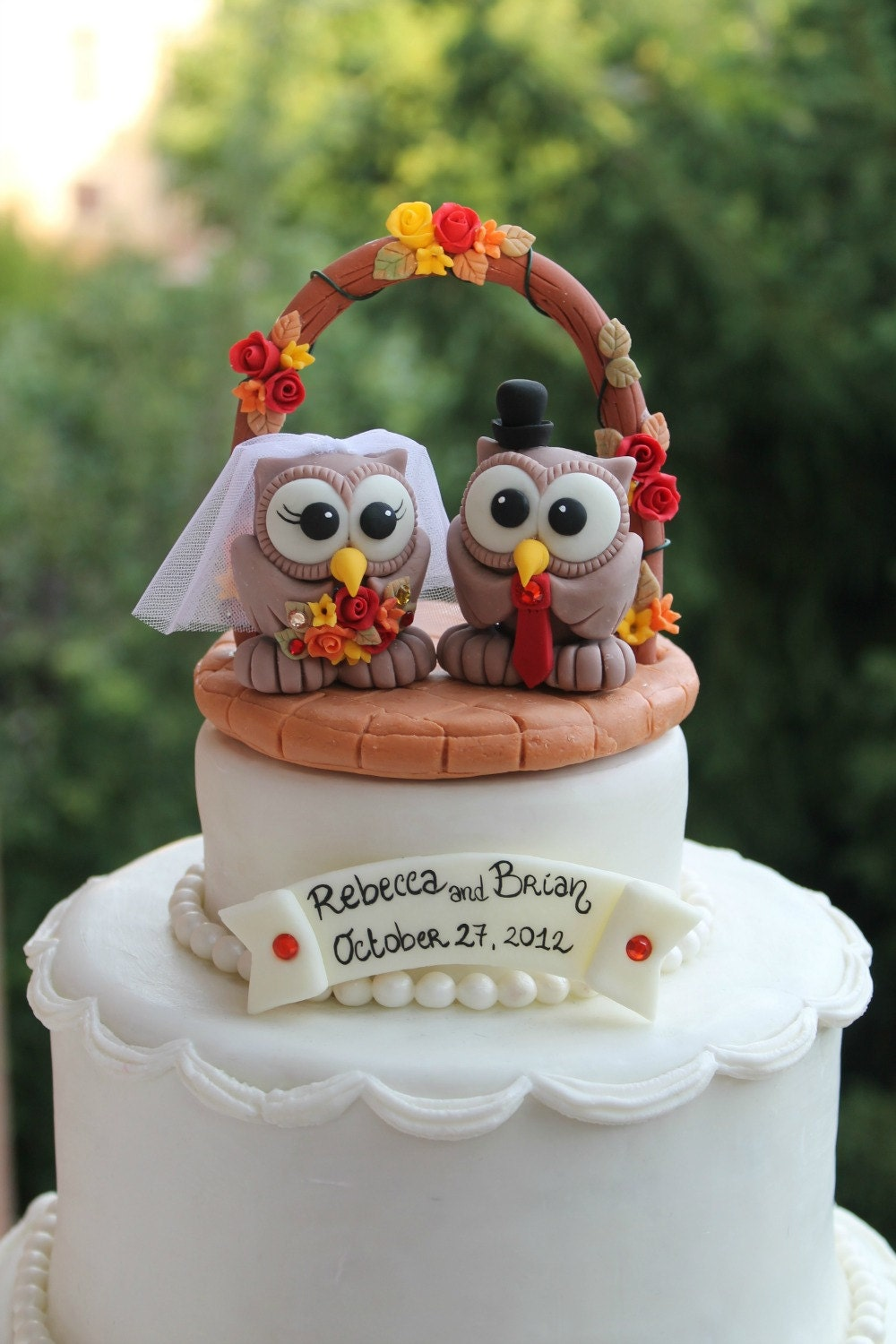 Owl Cake Topper With Wedding Arch Brick Patio Base By