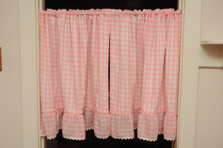 Vintage Cafe Curtains Pair Panels Pink Gingham White Rick