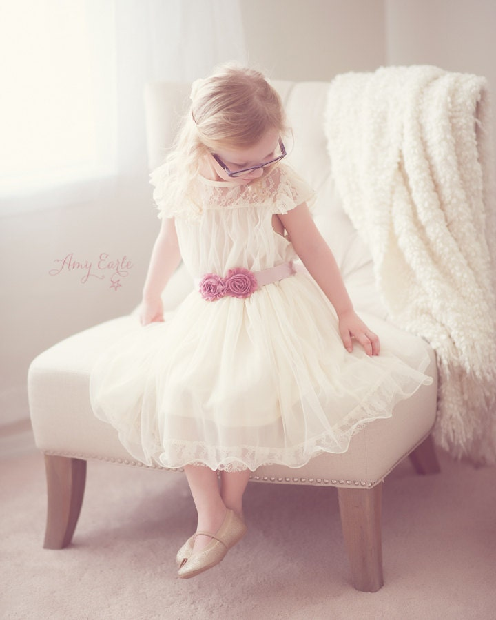 The Olivia Ivory Flower Girl Lace Dress, made for girls, toddlers, infants, ages 2T-14 - kailynzoeandco