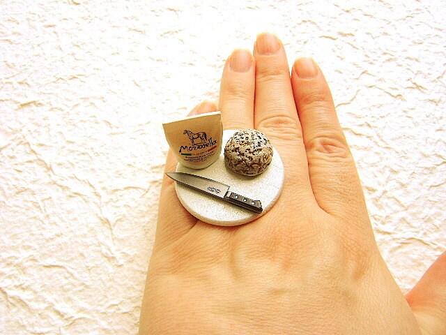 Миниатюрные продовольственной кольцо Kawaii Хлеб Сыра