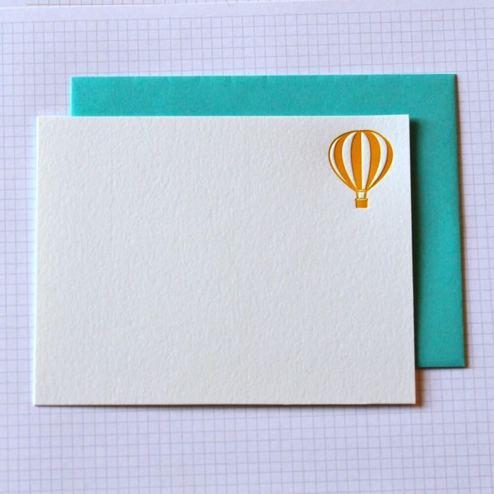 letterpress hot air balloon notecards