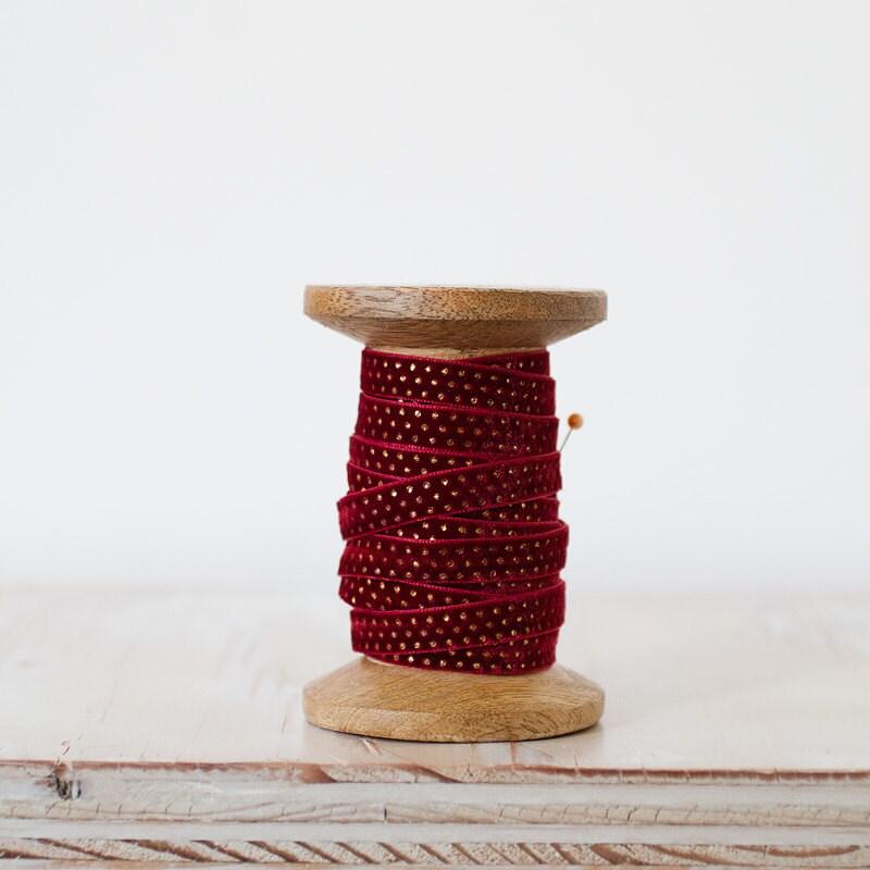Burgundy & Gold Dot Velvet Ribbon - Holiday Ribbon - 5 yards - AnastasiaMarieShop