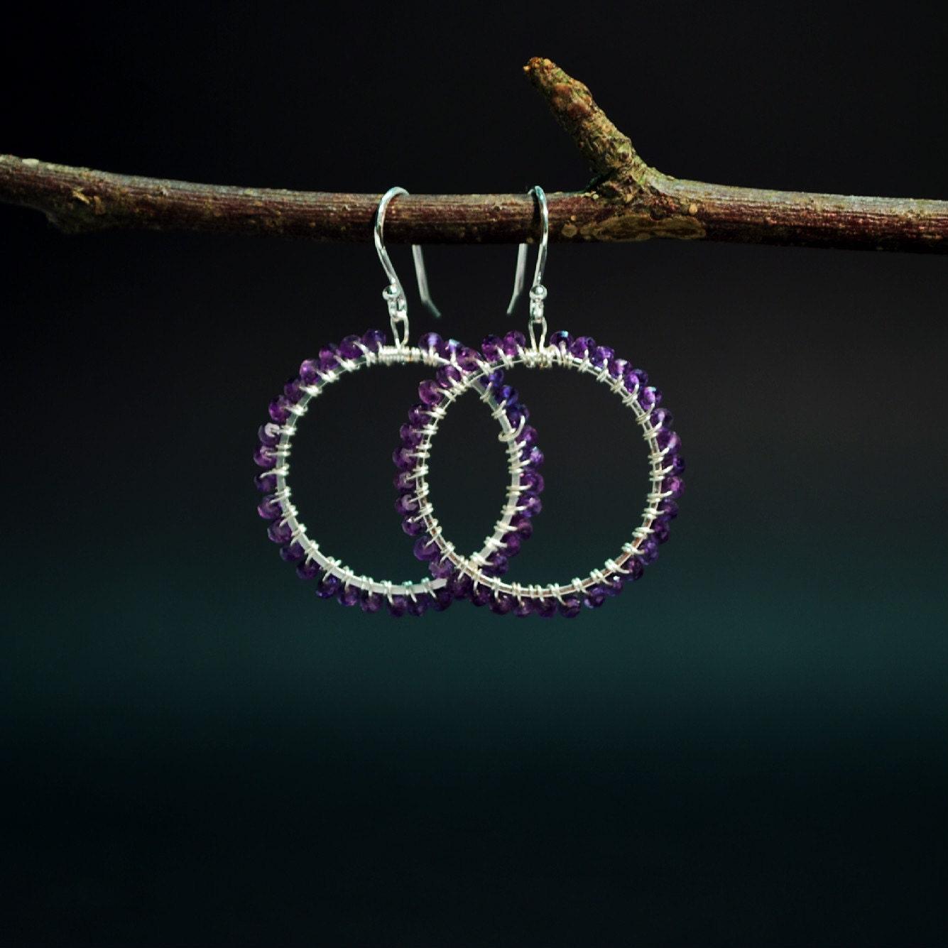 Handmade amethyst hoop earrings
