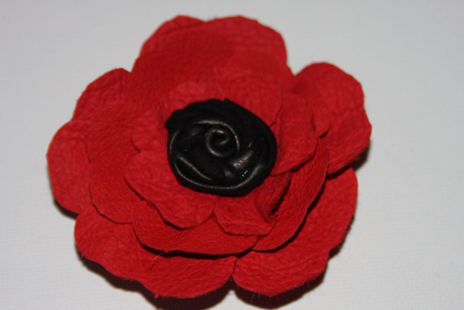 Red flower red leather flower corsage pin or hair clip red  black flower shoe clips order 2 red leather flower brooch red rose Ruby62