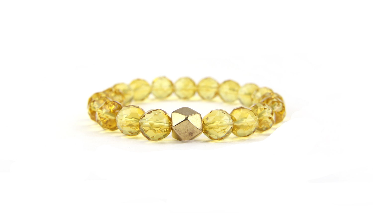 Yellow Citrine Gemstone Stacking Bracelet Valentine's Day Gift Under 30