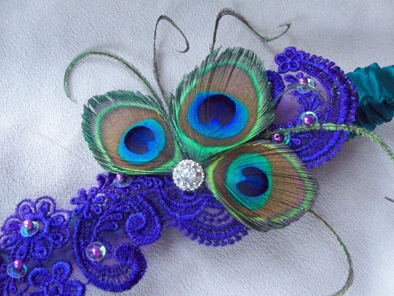Peacock Feathers Royal Purple Beaded Alencon Lace Teal Satin Rhinestone Garter