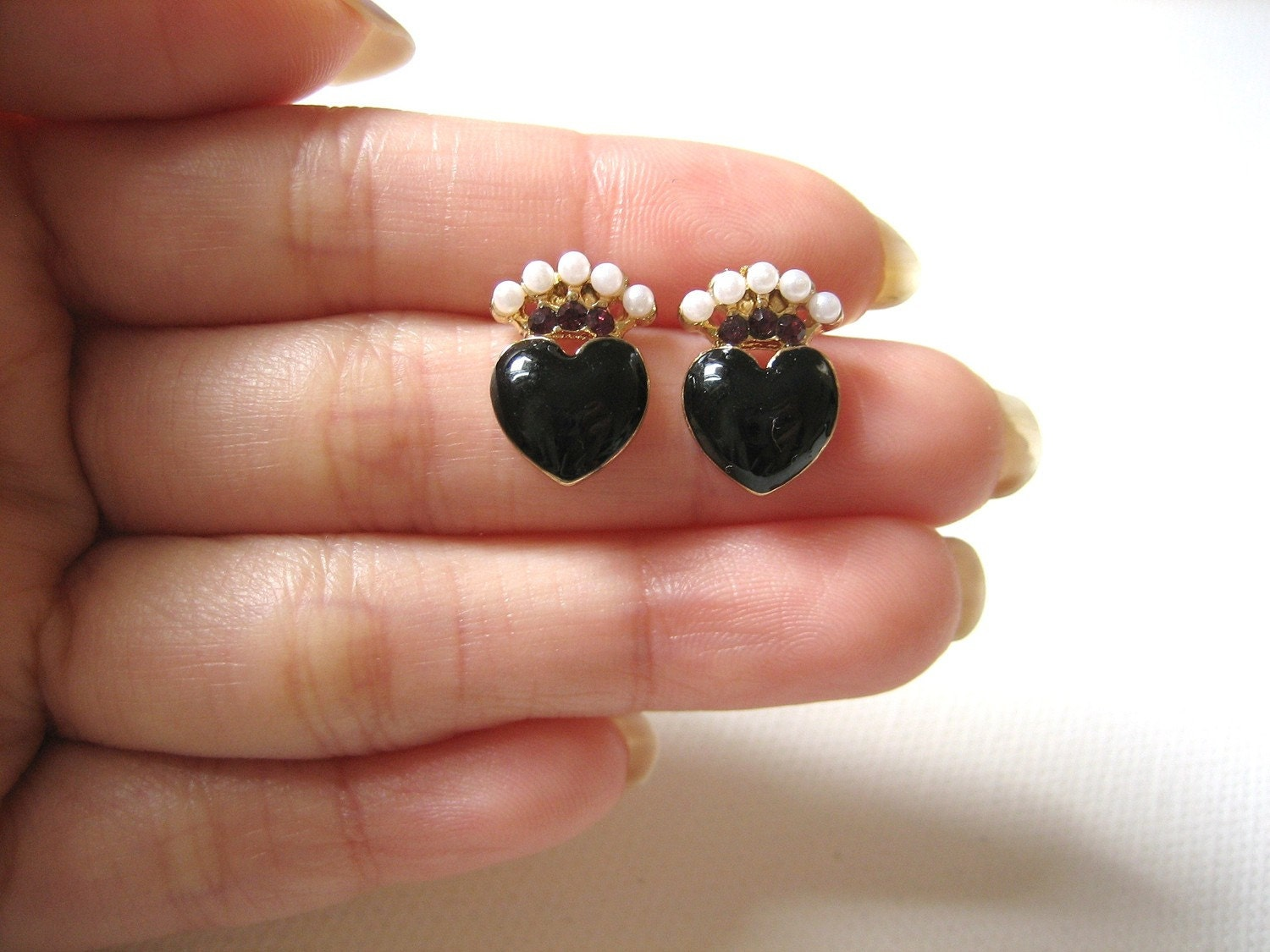 SALE - Little Black Heart Post Earrings