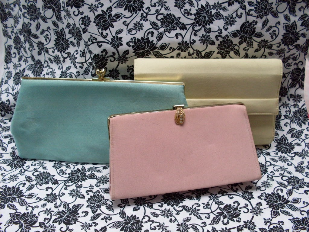 3 Spring Vintage Clutches - Pastel Colors