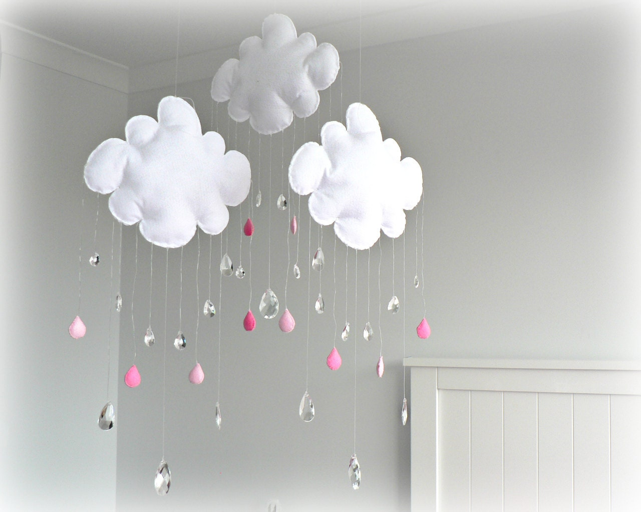 Rain Cloud mobile - nursery decor - White clouds - crystals - pink raindrops - sun catcher - Sparkling prism tear drops - LullabyMobiles