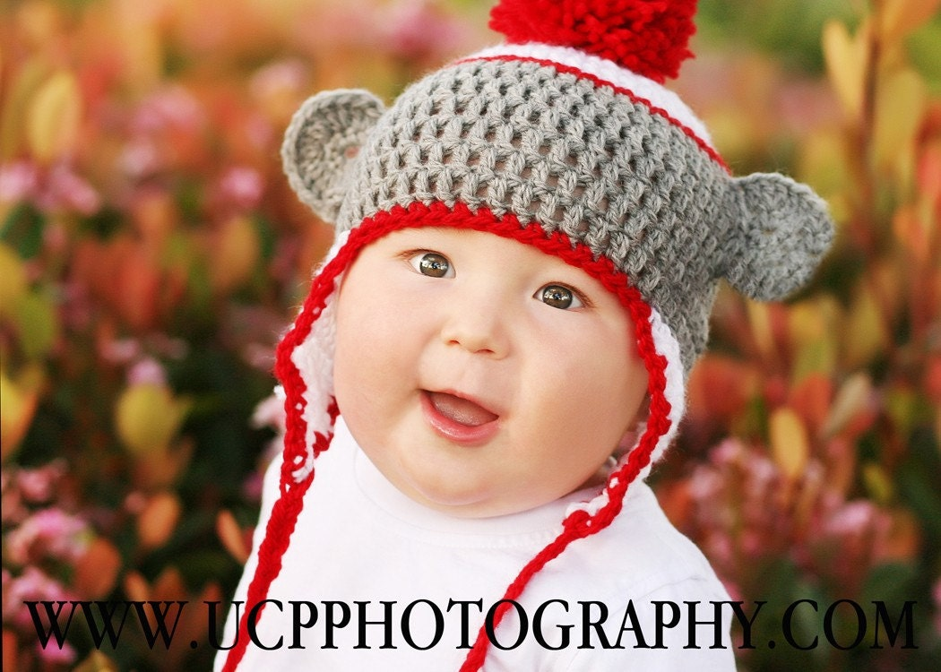 Newborn to 3mo Sock Monkey Beanie Earflap Hat (Red, White, and Gray)