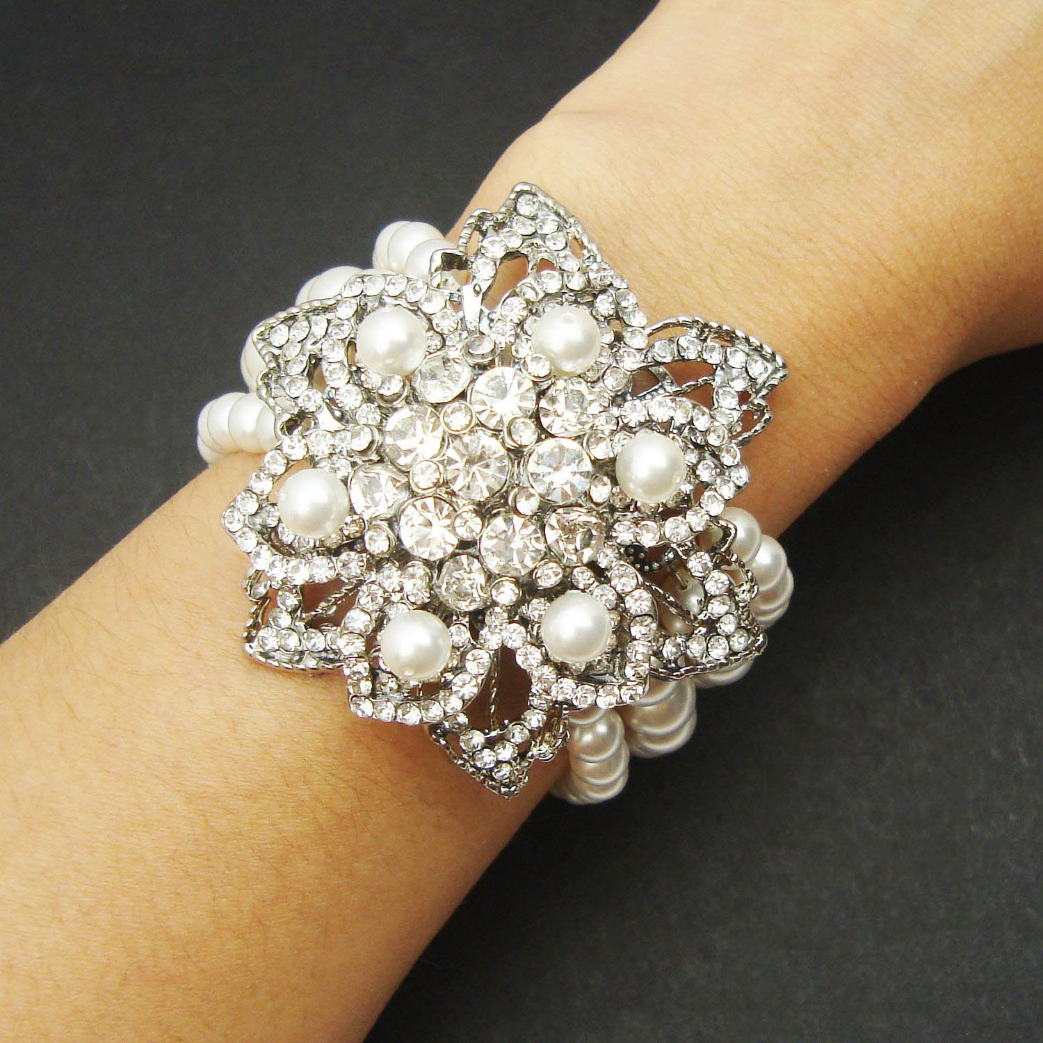 items similar to bridal pearl cuff bracelet vintage style