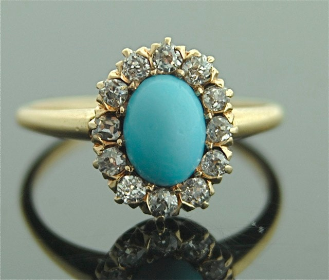 antique turquoise ring 14k yellow gold by sitfinejewelry
