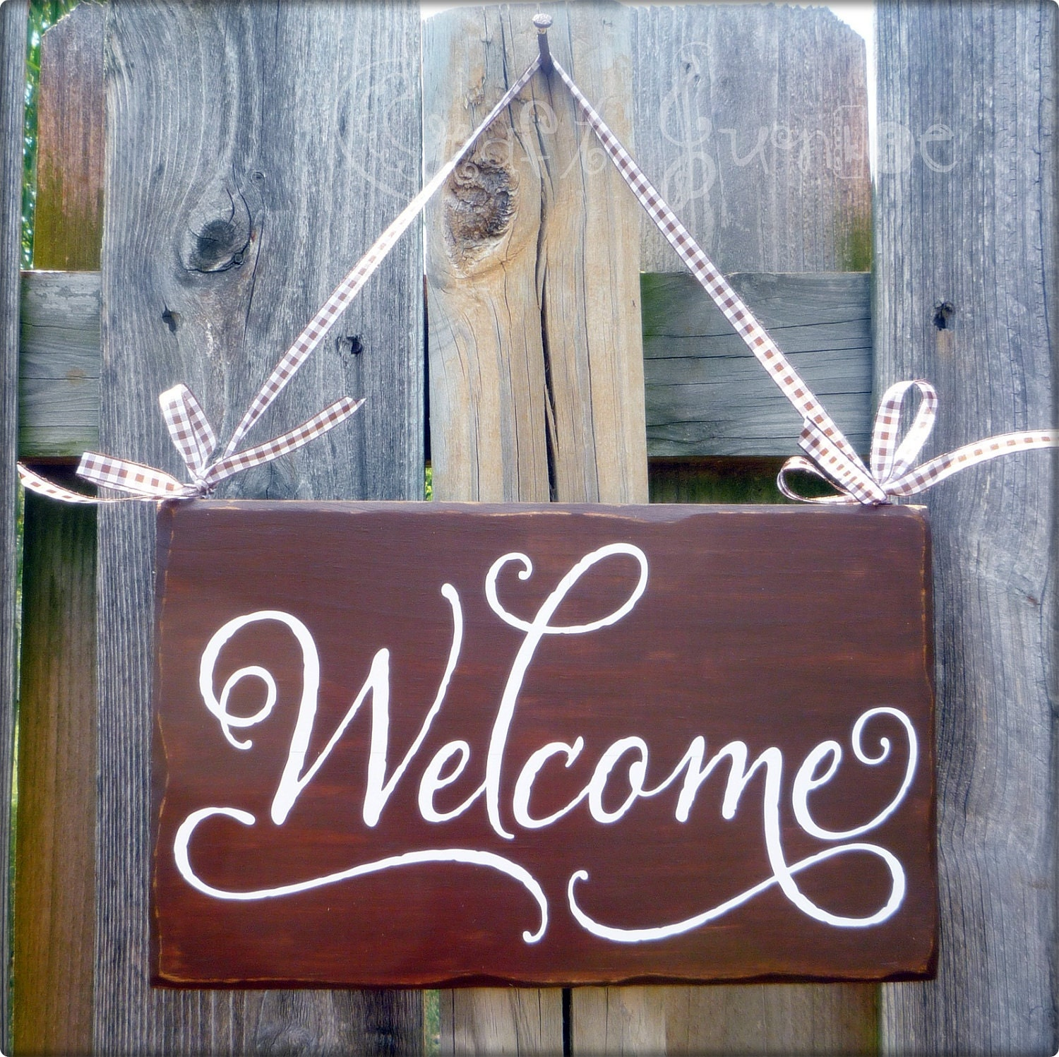 Brown elegant shabby chic welcome sign