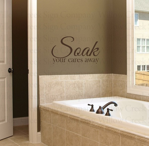 Soak Bathroom Vinyl Wall Lettering Words Art Quotes Decals Stickers Tatoo Cares