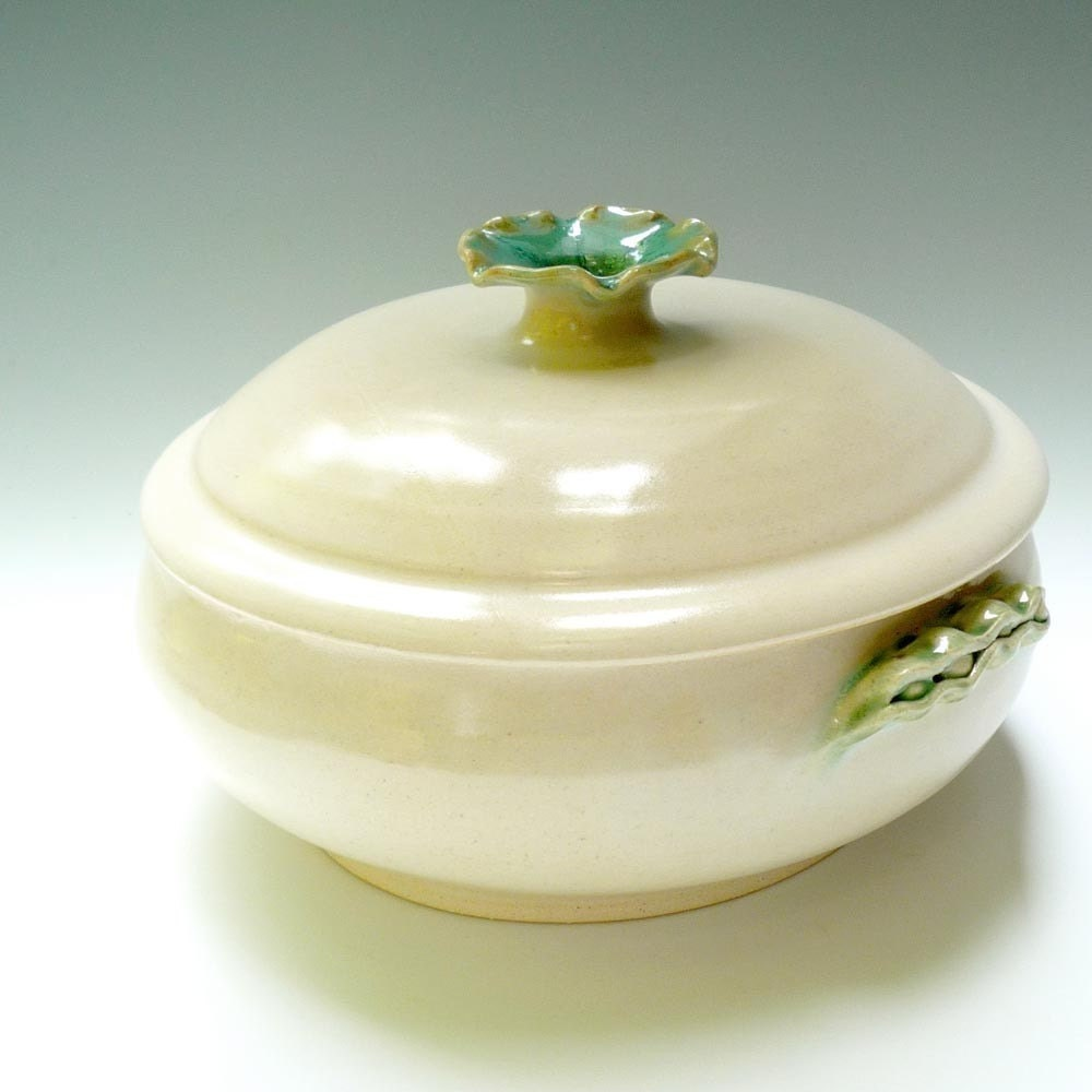 White 2 quart casserole with Pea Pod Handles handmade stoneware pottery