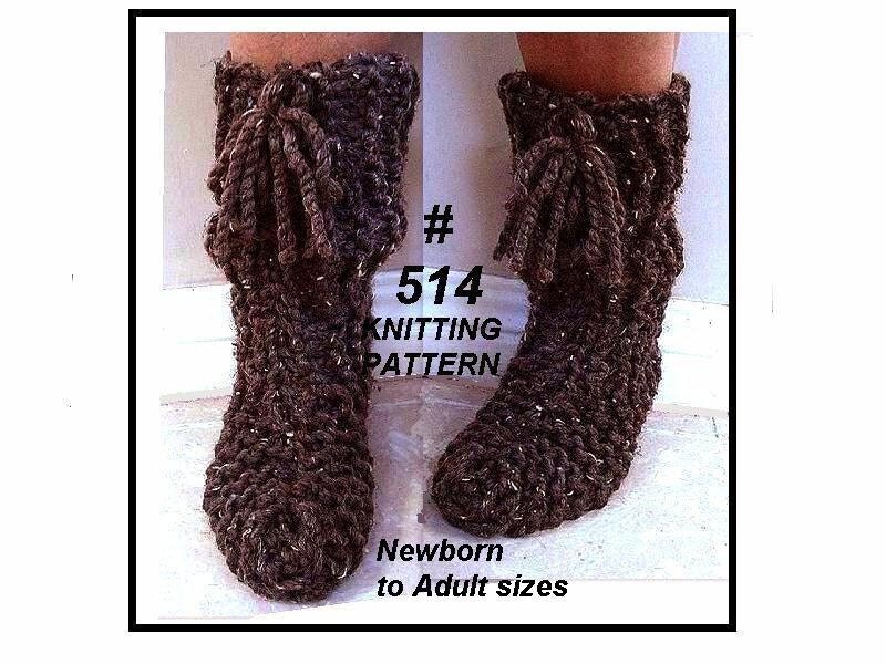 Flat Knitting Patterns : Knitting pattern slippers KNIT FLAT slippers for all by Hectanooga