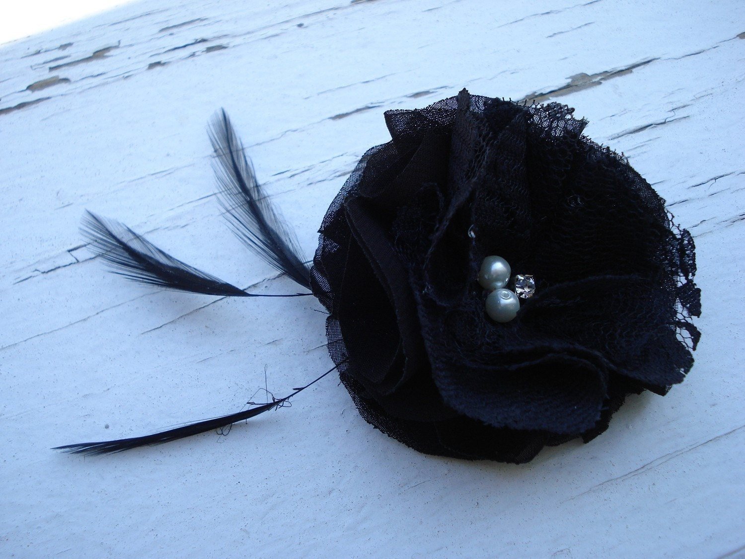 Miss Golightly - Black Chiffon and Lace Flower Hair Clip and Brooch