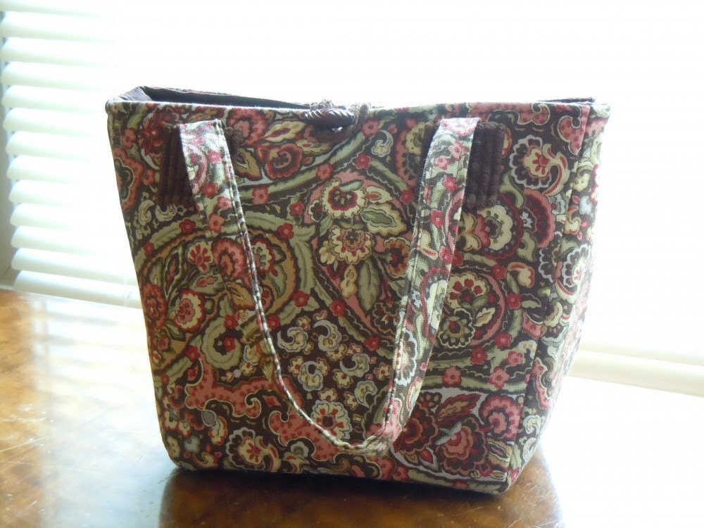 ON SALE! Handmade Purse in brown and salmon pink paisley