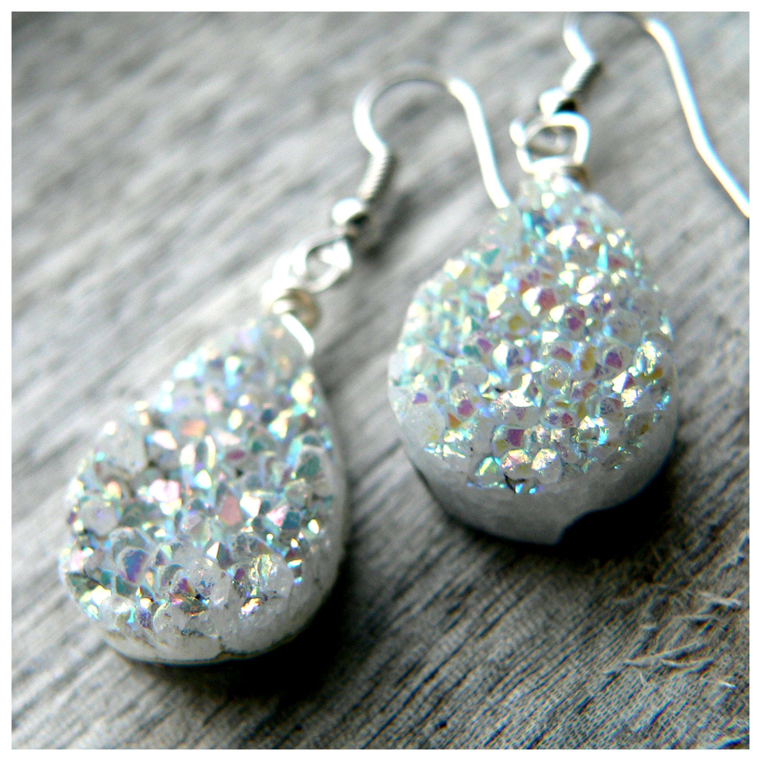 Gray Druzy Quartz Teardrop Earrings on Hypo-allergenic French Hooks - KattilacGems