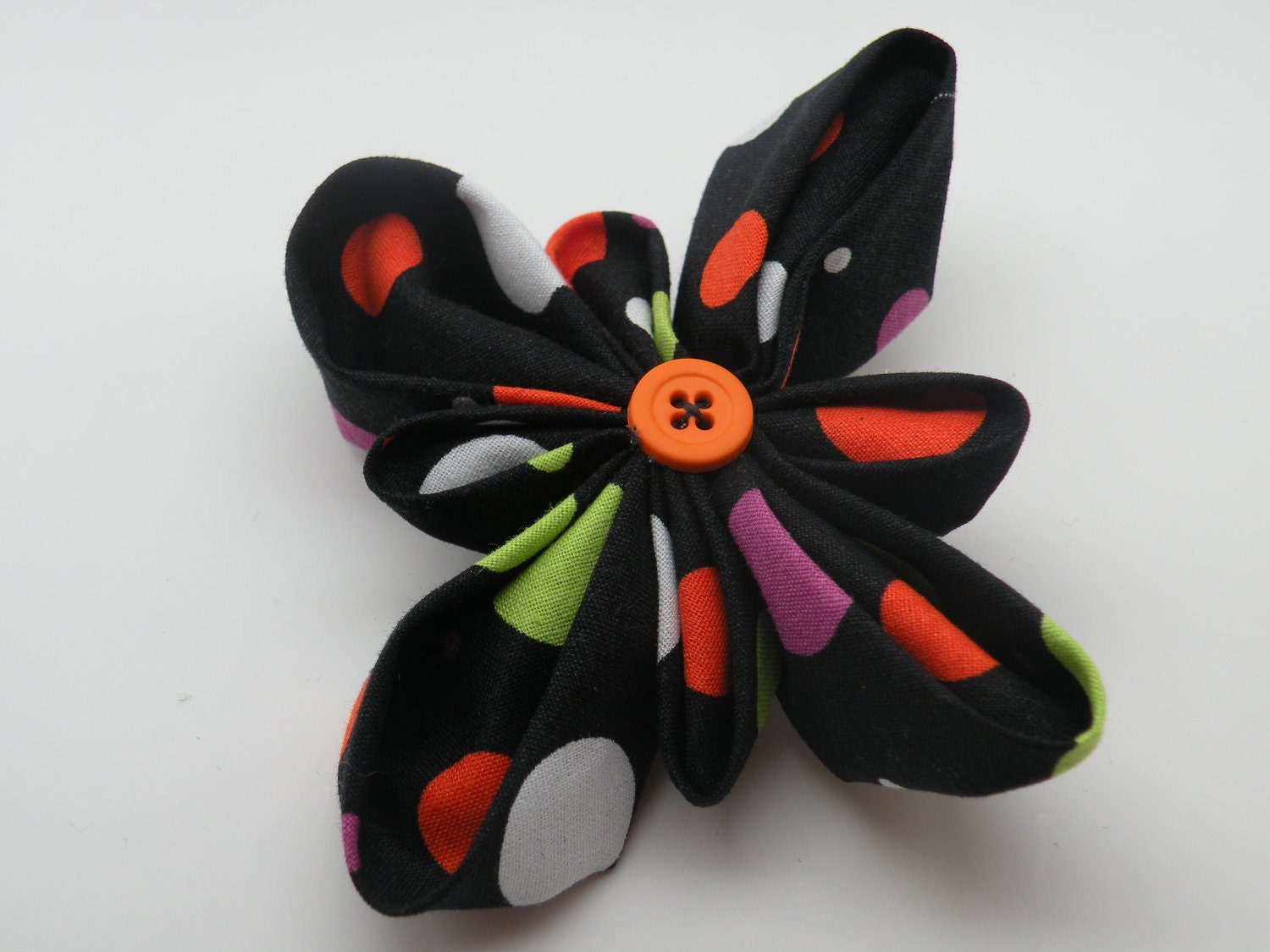 Fabric Flower Halloween Hair Bow- Black