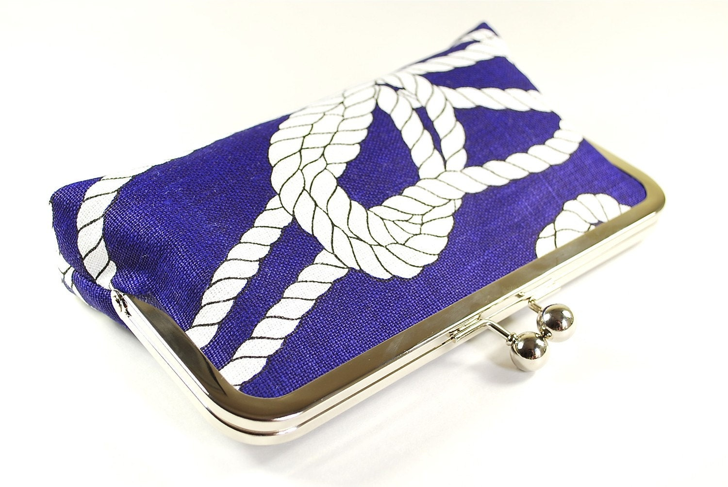 Royal blue linen clutch with naval knots
