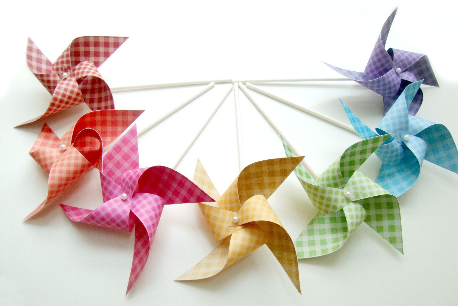 GINGHAM RAINBOW set of 7 mini pinwheels