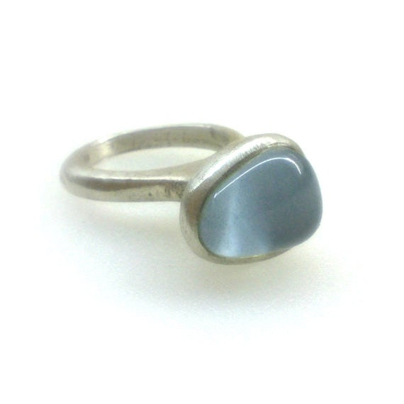 Blue-Grey Glass mosaic Sterling silver Handmade Ring Matte finish - Unique - Lost Wax Method - Contemporary Design. Spring Trends - applenamedD