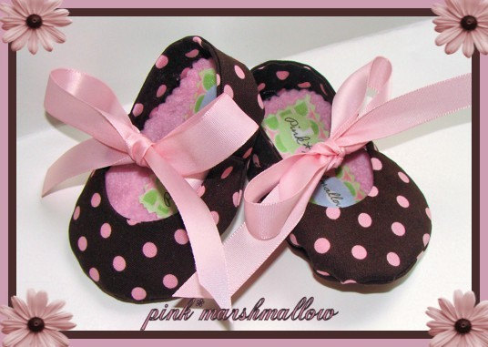 Infant Soft Soled Shoes made with Michael Miller Cocoa Dot Pink