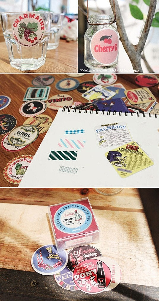 coaster label sticker set (70sheets)