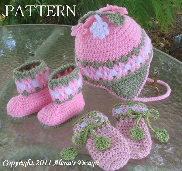 Crochet PATTERN Set Blossom Hat Baby Booties and by ...