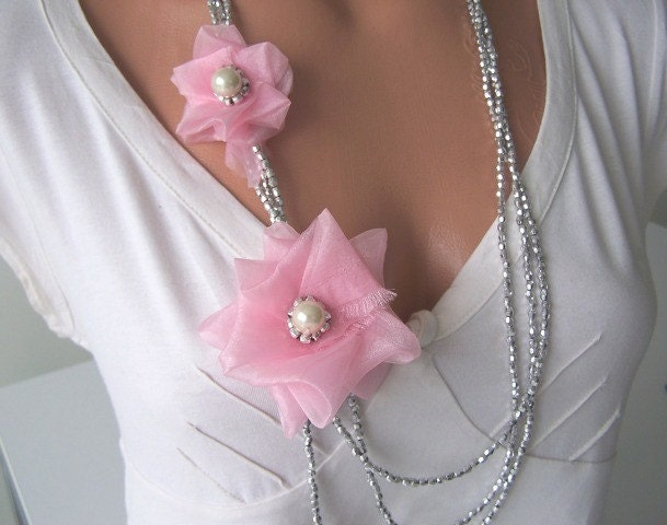 ALICE IN WONDERLAND, Wedding and Bridesmaid Accessories, Pastel Pink Organza Rose Bip Statement Necklace, Spring Fashion