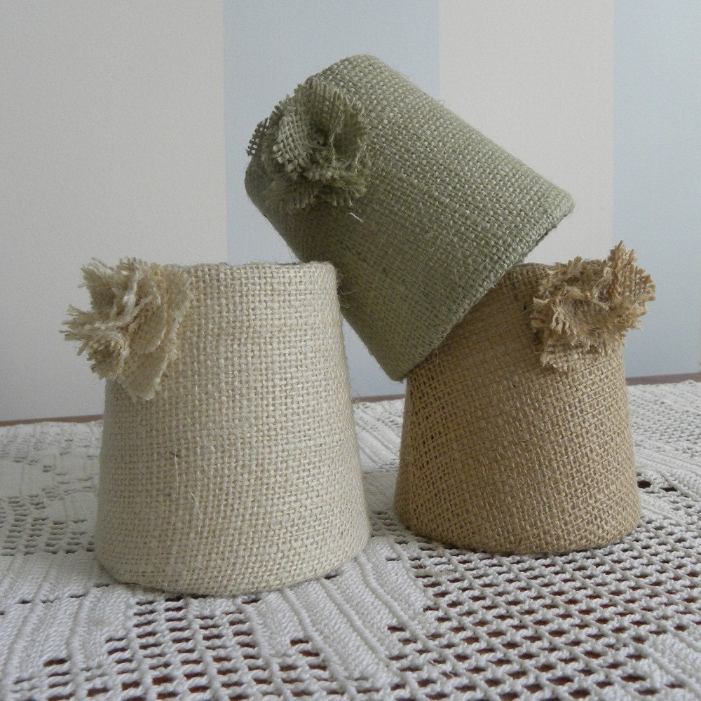 SIX Small Burlap Single Rosette Sconce/Chandelier Lamp shade