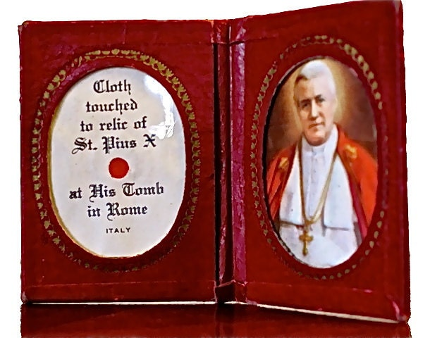 Antique Mid-Century Catholic Relic Book - Bound & Framed Cloth Touched to Relic of St Pius with Picture Made in Italy