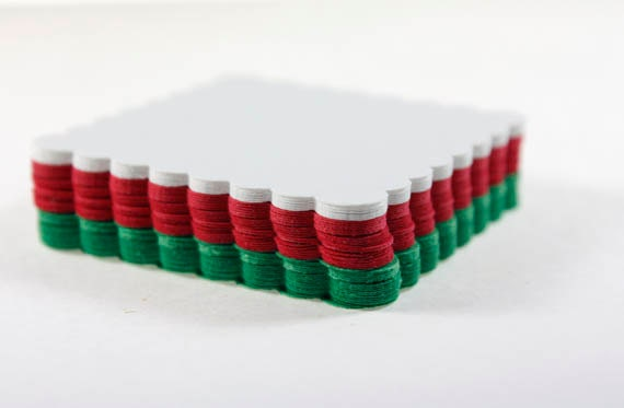 30 Scalloped Squares, Red, Green & White, Christmas Colors, Die Cut Paper Squares, Die Cut Scallop, DIY Tag, Gift Tag, Christmas Paper - SammysCraftShop