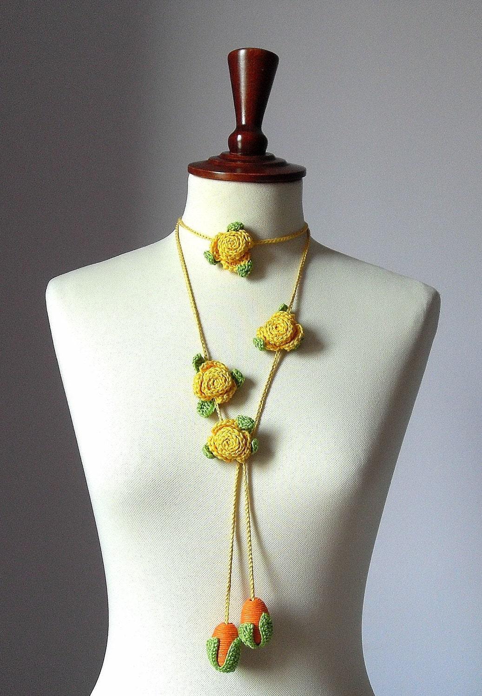 CARAMELLA Handknit Crochet Lariat - Yellow/Orange
