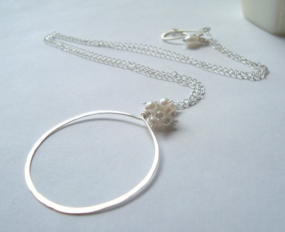 Sterling and White Pearl Necklace  Moon by fuchsiabloomstudio