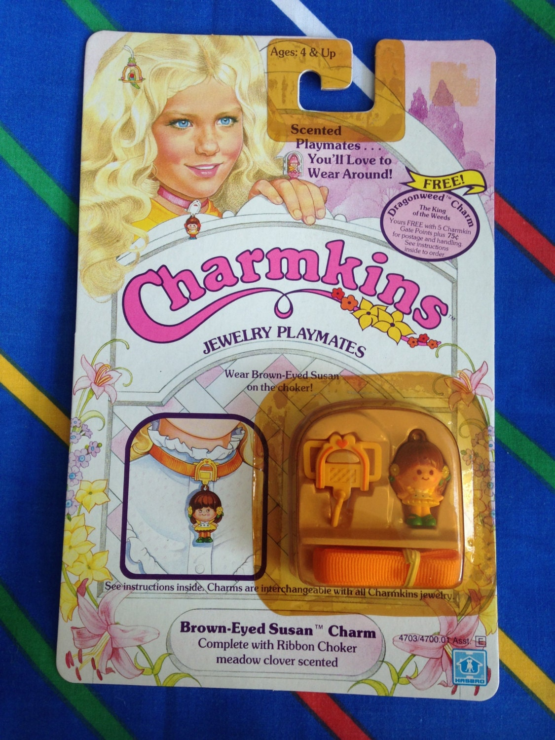 Vintage 1984 Charmkins BROWN EYED SUSAN miniature doll 1980s Hasbro ribbon chocker necklace charm MoC mint rare Factory Sealed scented new