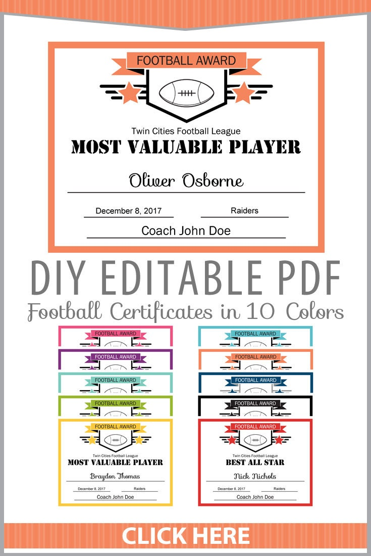 Football Award Certificate Template