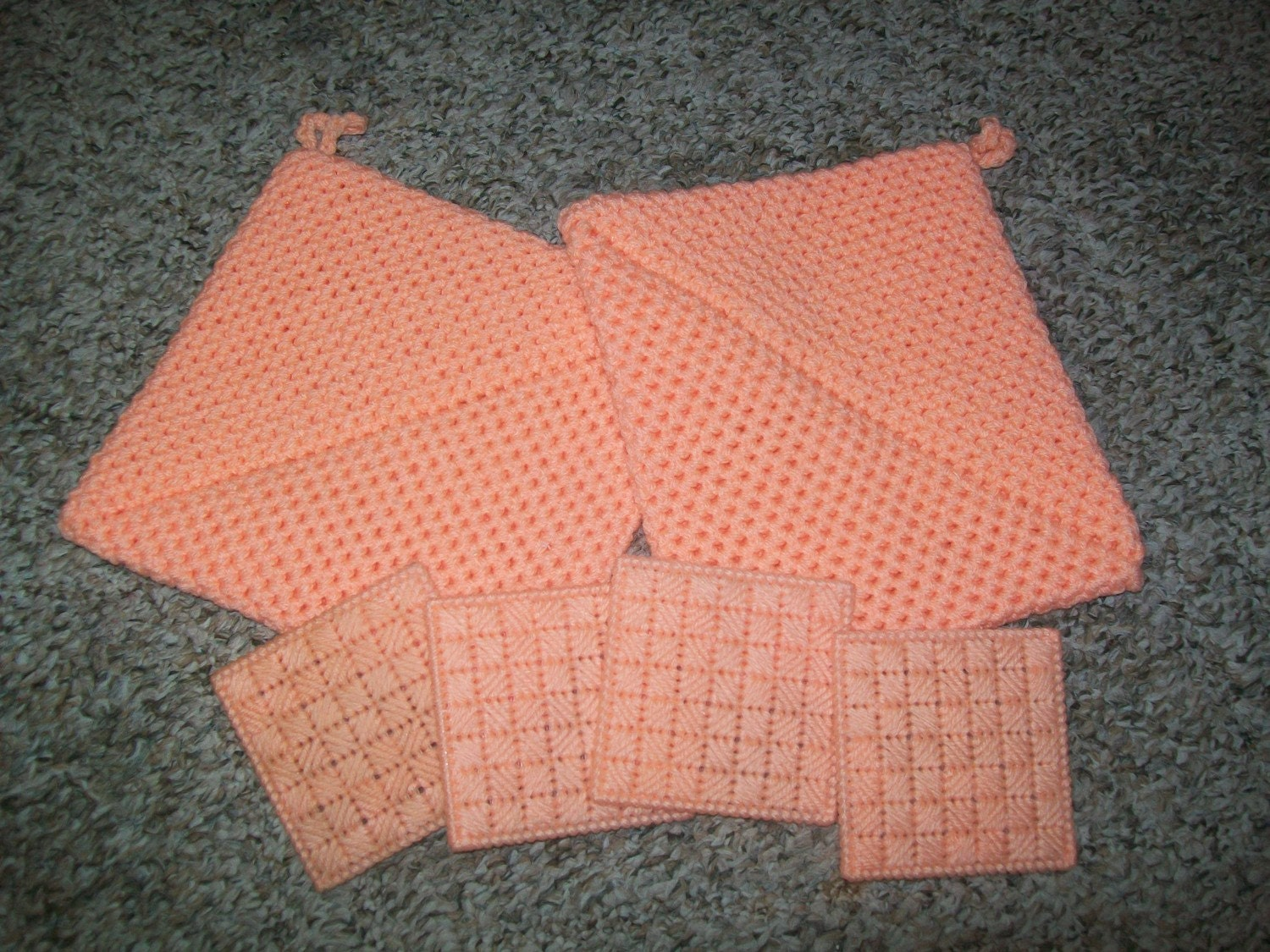 Hot Pad/Coaster Set in Light Coral