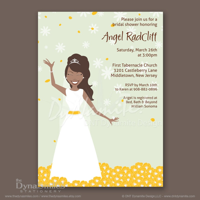 Bouquet Field Bride - Bridal Shower Invitations - African American