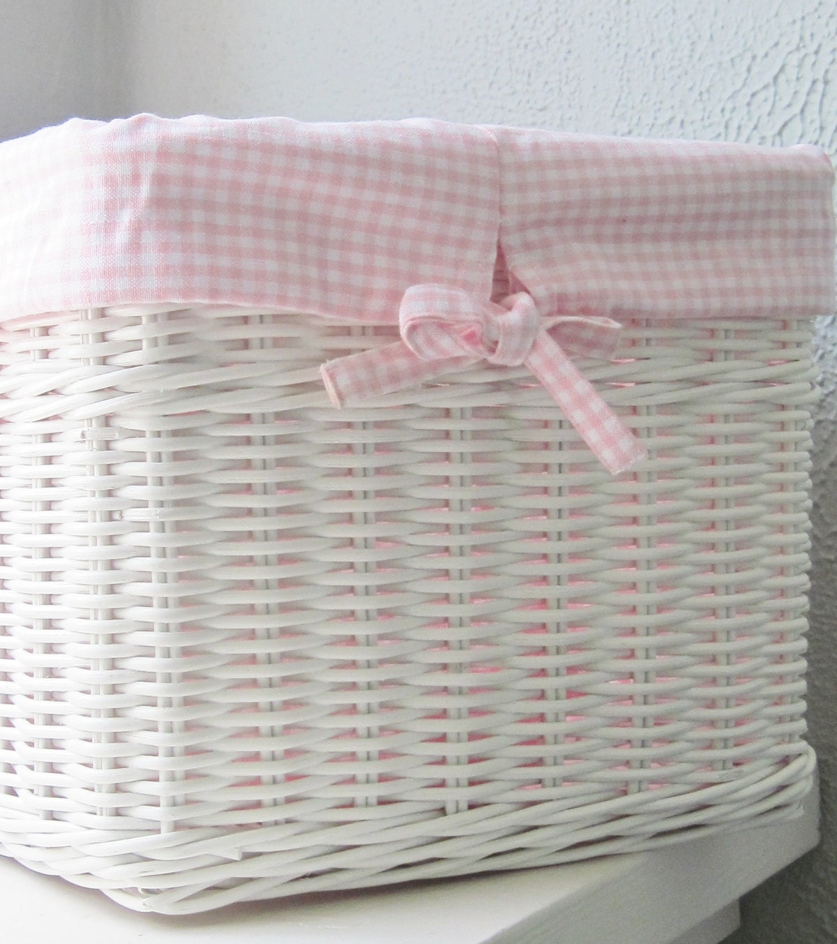 White Wicker Cube Basket With Pink Gingham By Alexisbrookelane