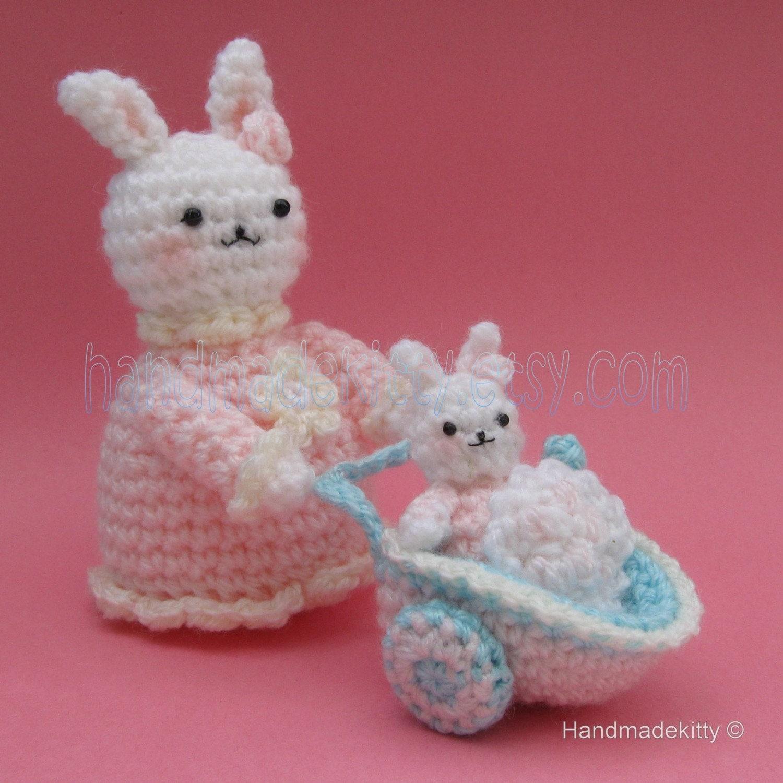 Crochet Patterns Amigurumi : ... Bunny and Baby bunny in Baby Carriage Amigurumi Crochet Pattern