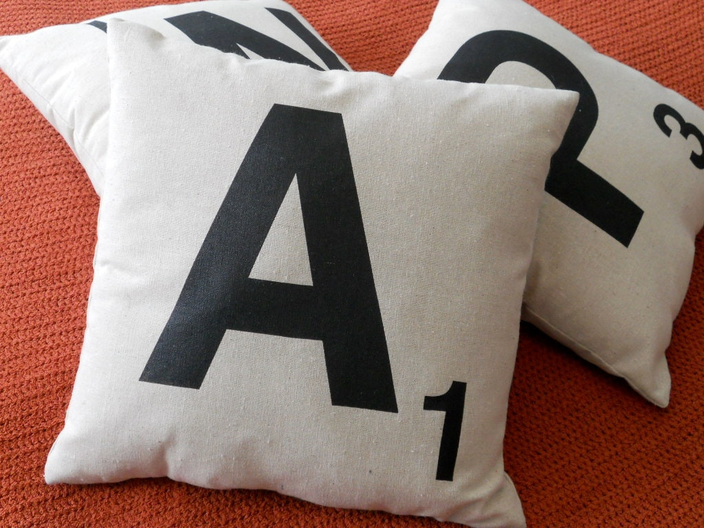 Any Three Scrabble Tile Letter Pillows - Spell it out - PILLOW COVERS and INSERTS - ($75)