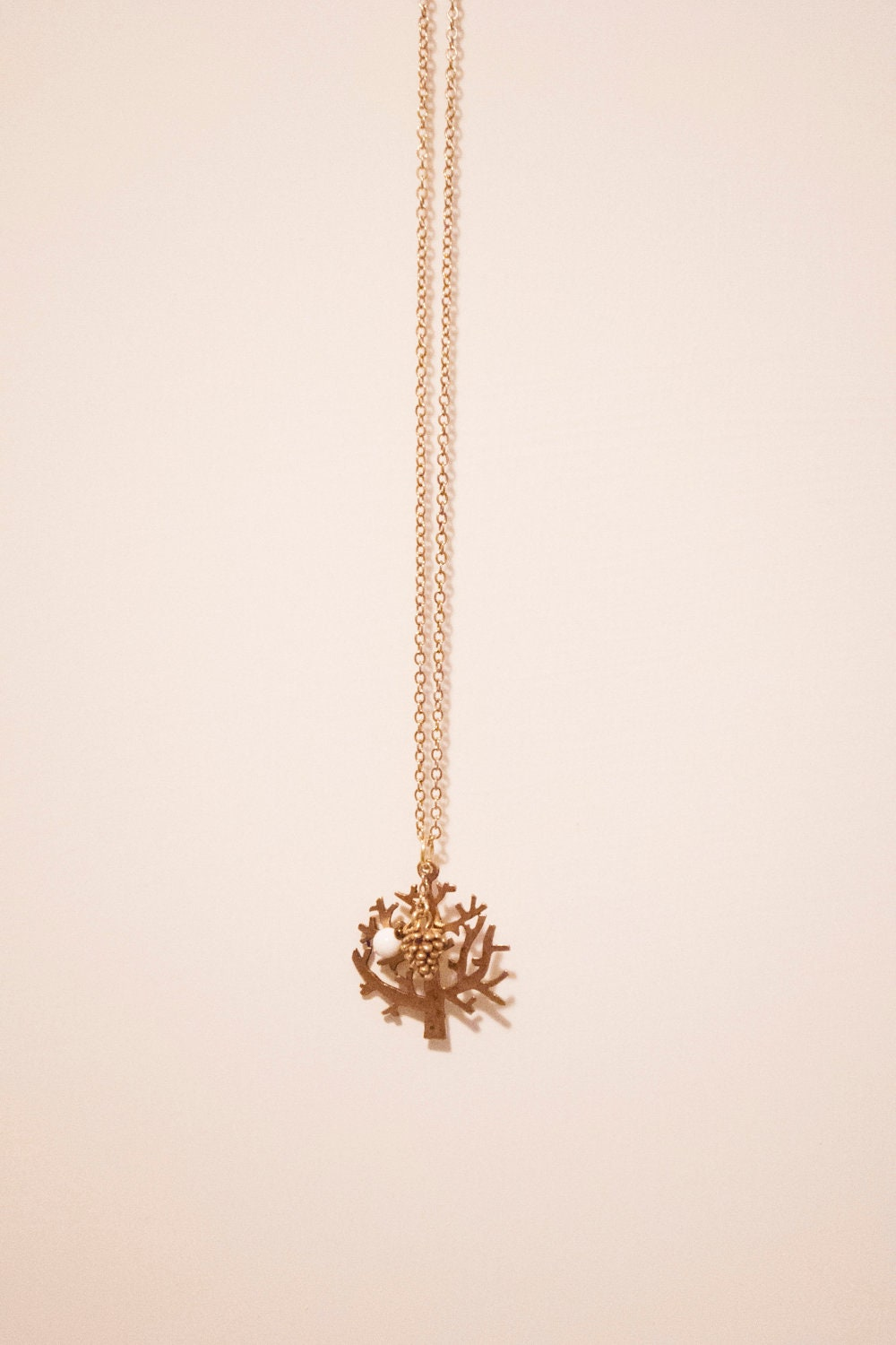 Gold Plated Acorn and Tree Necklace - Getting Ready for Fall/Autumn - Custom Order Available