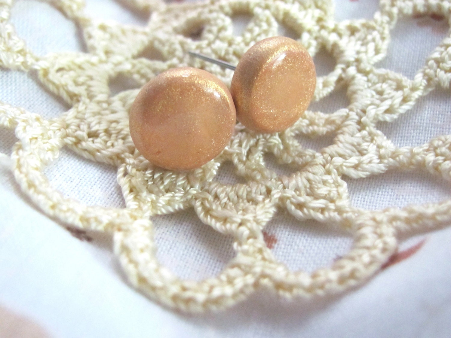 Yellow Raspberry - A pair of round stud earrings
