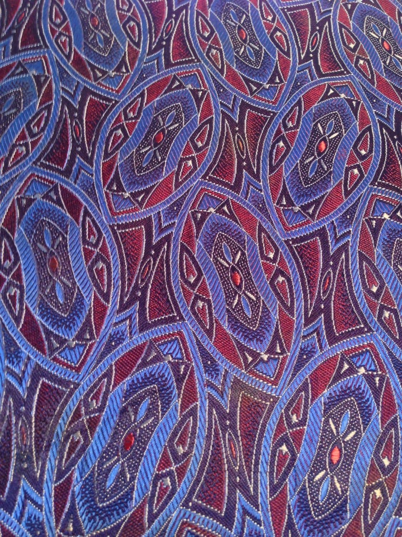 Silk Tie Fabric No.19 Vintage Blue and Maroon by Waycoolmodern