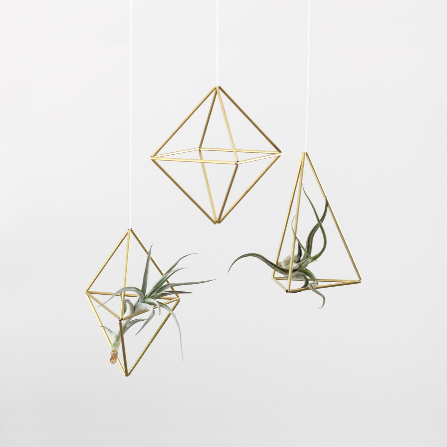 set of 3 brass himmeli air plant holders hanging mobile