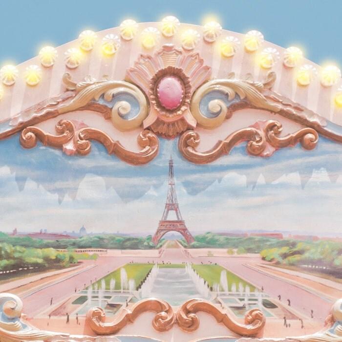 Paris Photo - Эйфелева башня на карусели, детские Декор, розовый и голубой Красочные Декор Главная